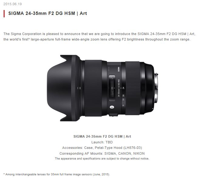 View topic - Sigma brings 24-35 F2 lens for FF cameras
